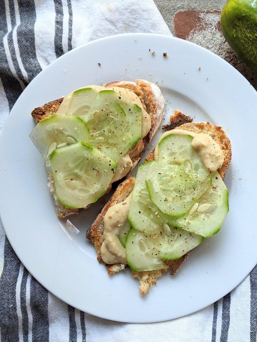 best vegetarian breakfast ideas healthy gluten free easy cucumber toast with homemade hummus recipe