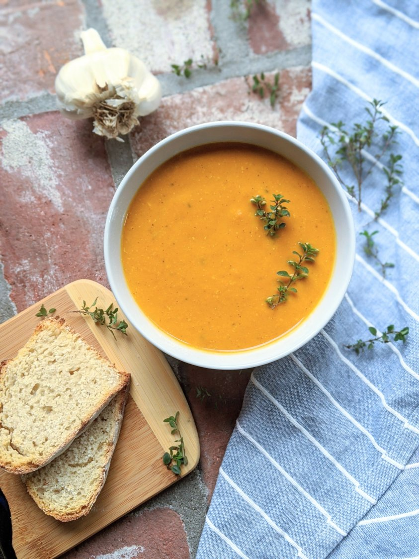 detox soup for new year healthy vegan gluten free plant based roasted carrots and ginger root soup with garlic anti inflammatory helps with inflammation