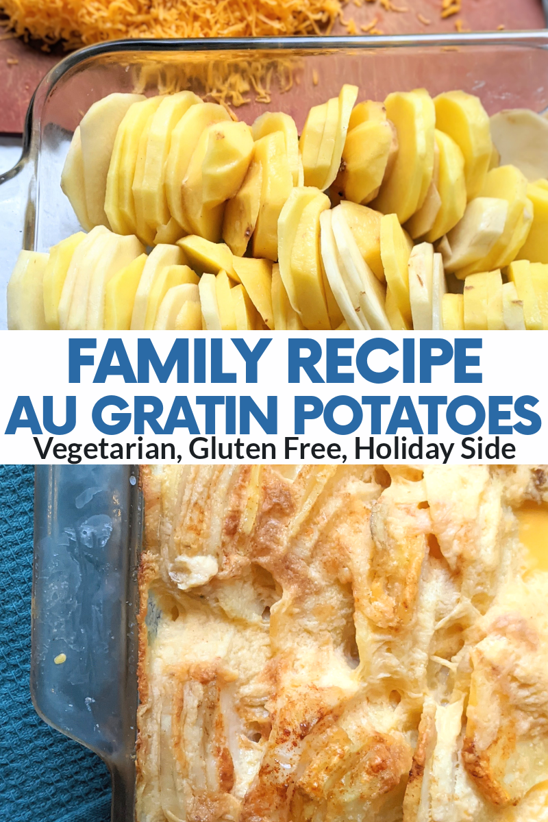 baked au gratin potatoes in the oven baking dish healthy gluten free vegetarian chistmas or thanksgiving side dish