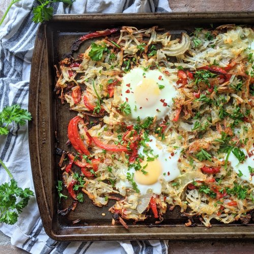 sheet pan breakfast recipe for brunch eggs hashbrowns savory breakfast ideas