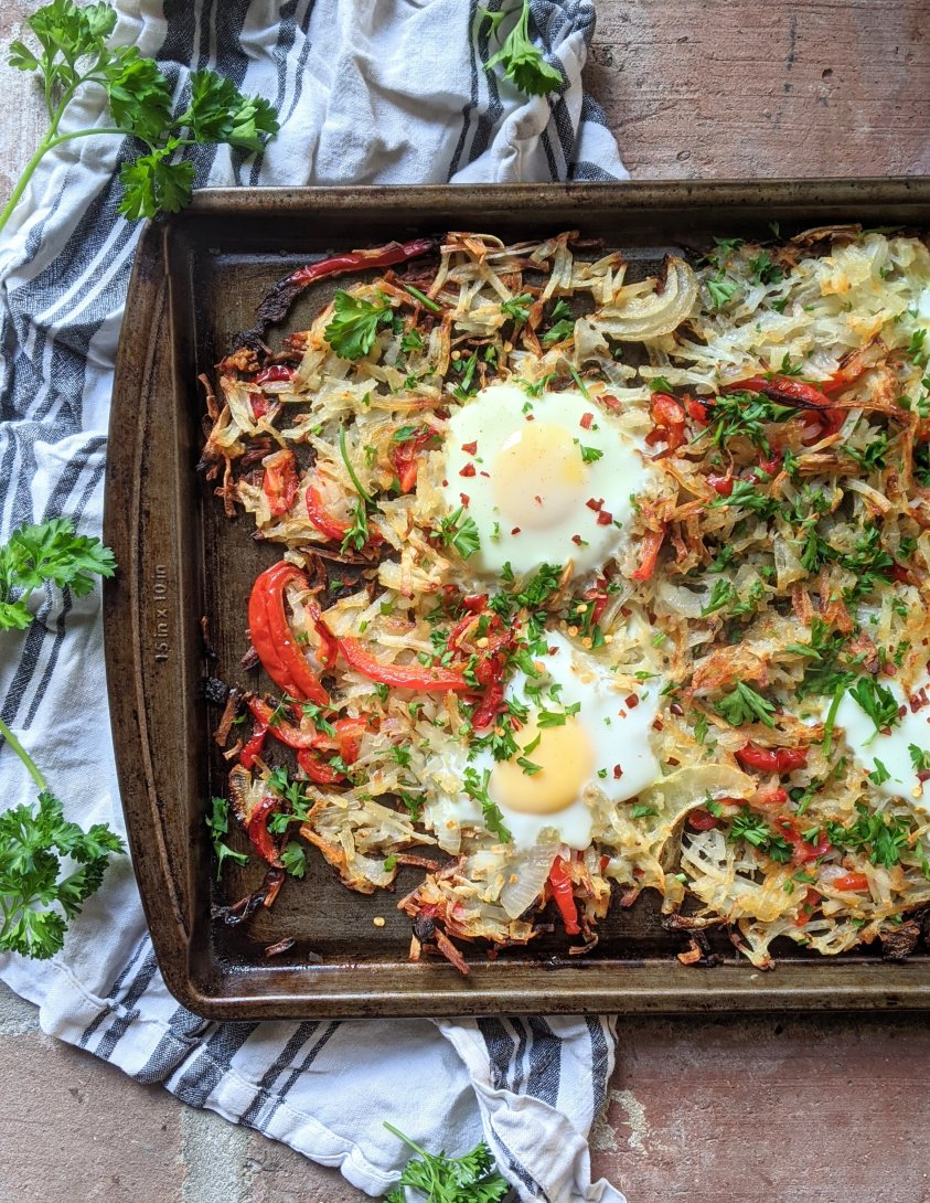 easy sheet pan breakfast recipes vegetarian whole30 paleo gluten free healthy high protein low fat eggs and potatoes and vegetables one pan meals