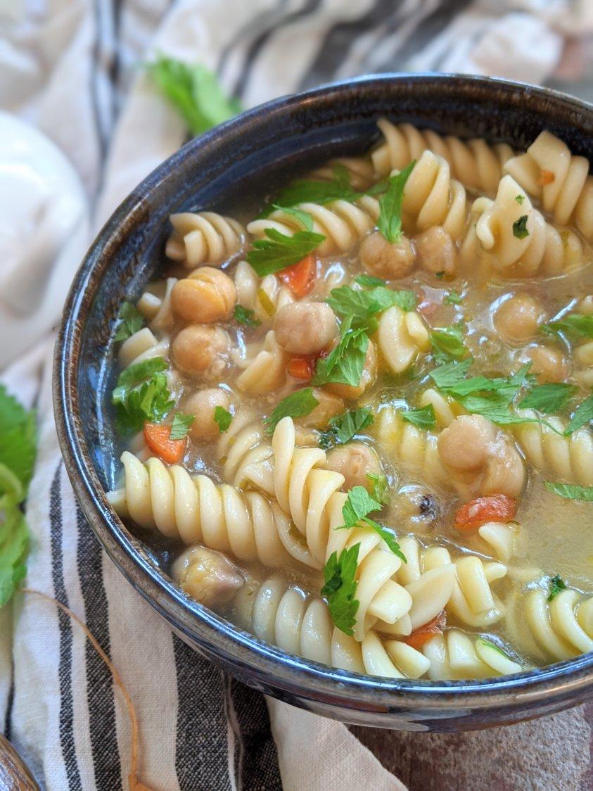 creamy chickpea noodle sopu vegan gluten free healthy meal prep pantry staples