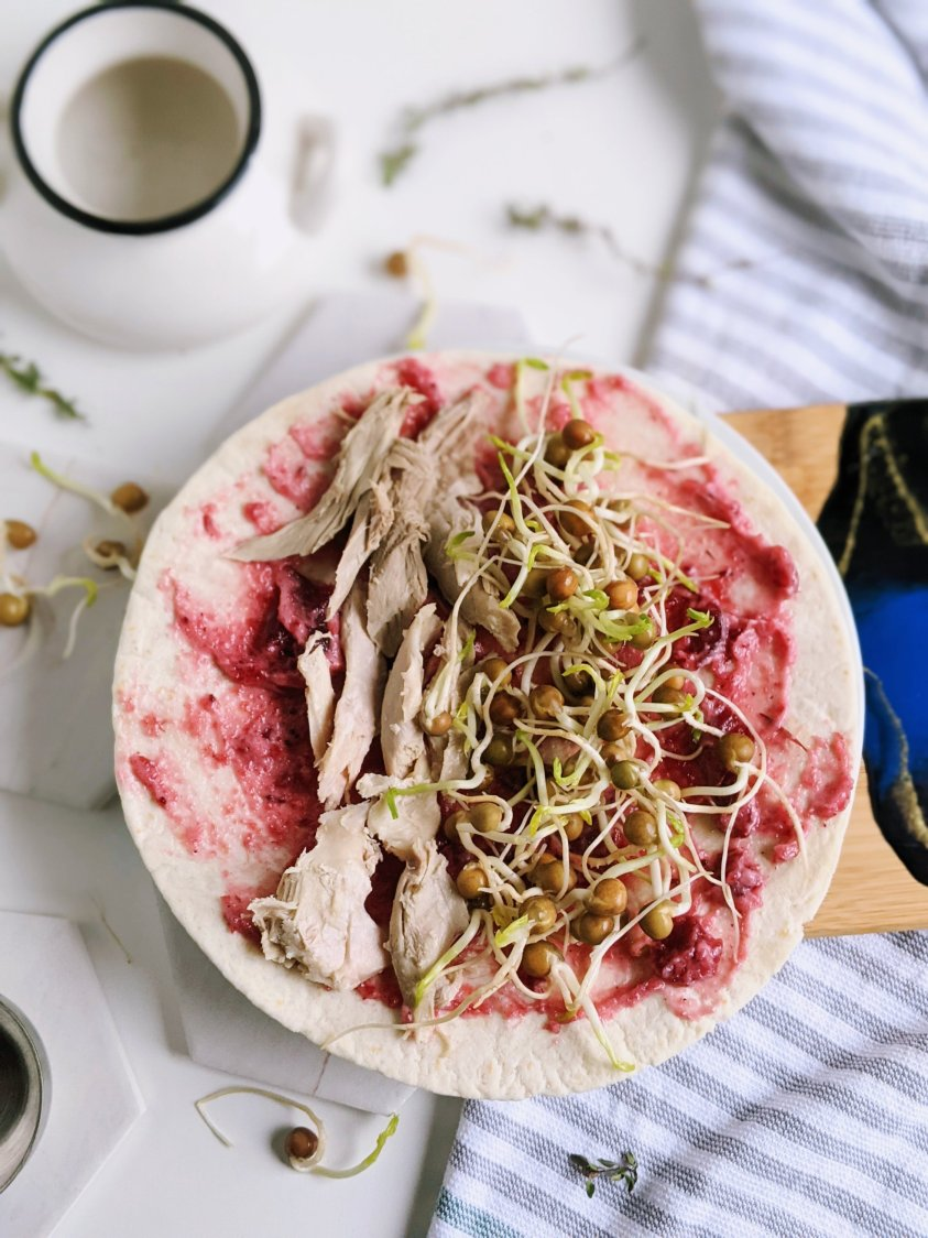 turkey wrap with cranberry mayo and sprouts recipe healthy high protein gluten free way to use thanksgiving leftovers healthy lunches