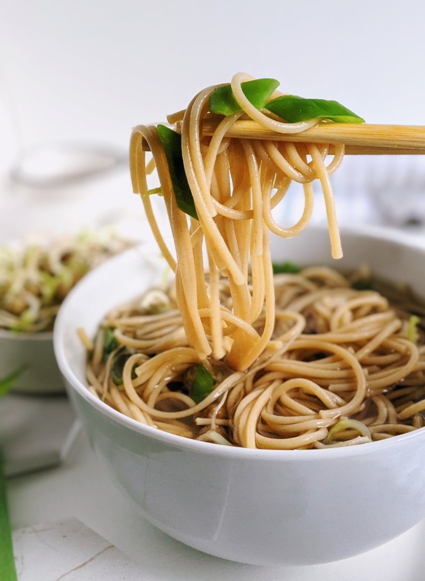pho noodle soup vegan with rice noodles bean sprouts gluten free easy healthy lime jalapeno green onion, gluten free