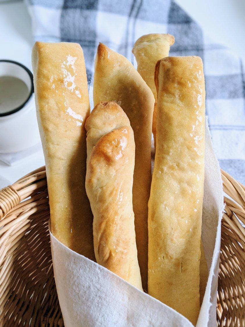 easy homemade bread sticks recipe vegan gluten free healthy fresh pantry staple ingredients flour salt garlic yeast