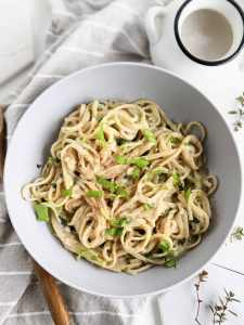 vegan alfredo recipe with oat milk plant based no cheese alfredo with garlic sauce and fettuccine noodles healthy italian dinners to make at home creamy vegan pasta