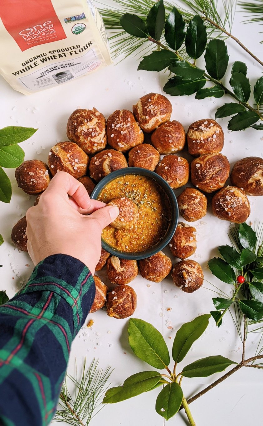 soft pretzels with sweet honey mustard dip sauce vegan healthy all natural sweetener vegetarian flavorful best pretzel dip for the holidays for soft or hard crunchy pretzels