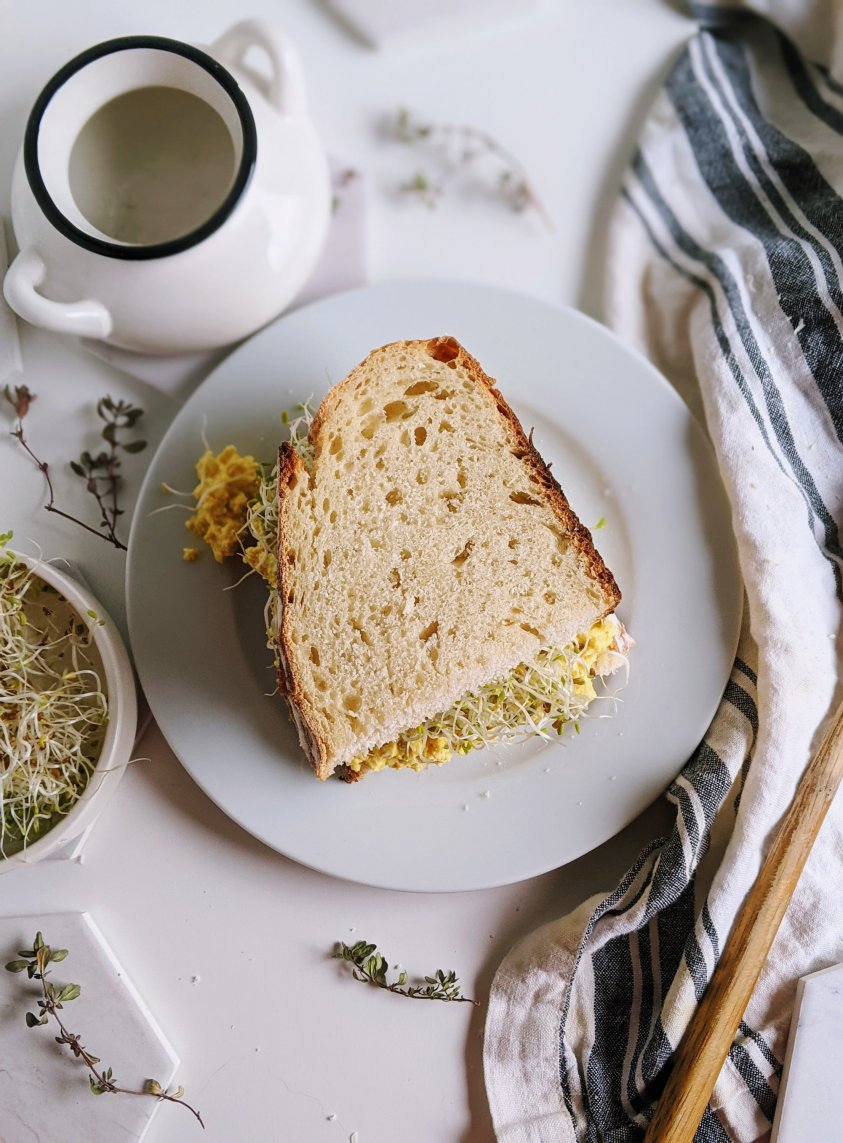 vegan egg salad sandwich with tofu recipe and turmeric sourdough bread homemade ealthy meal prep batch cook make ahead sandwich recipes for work or school lunches