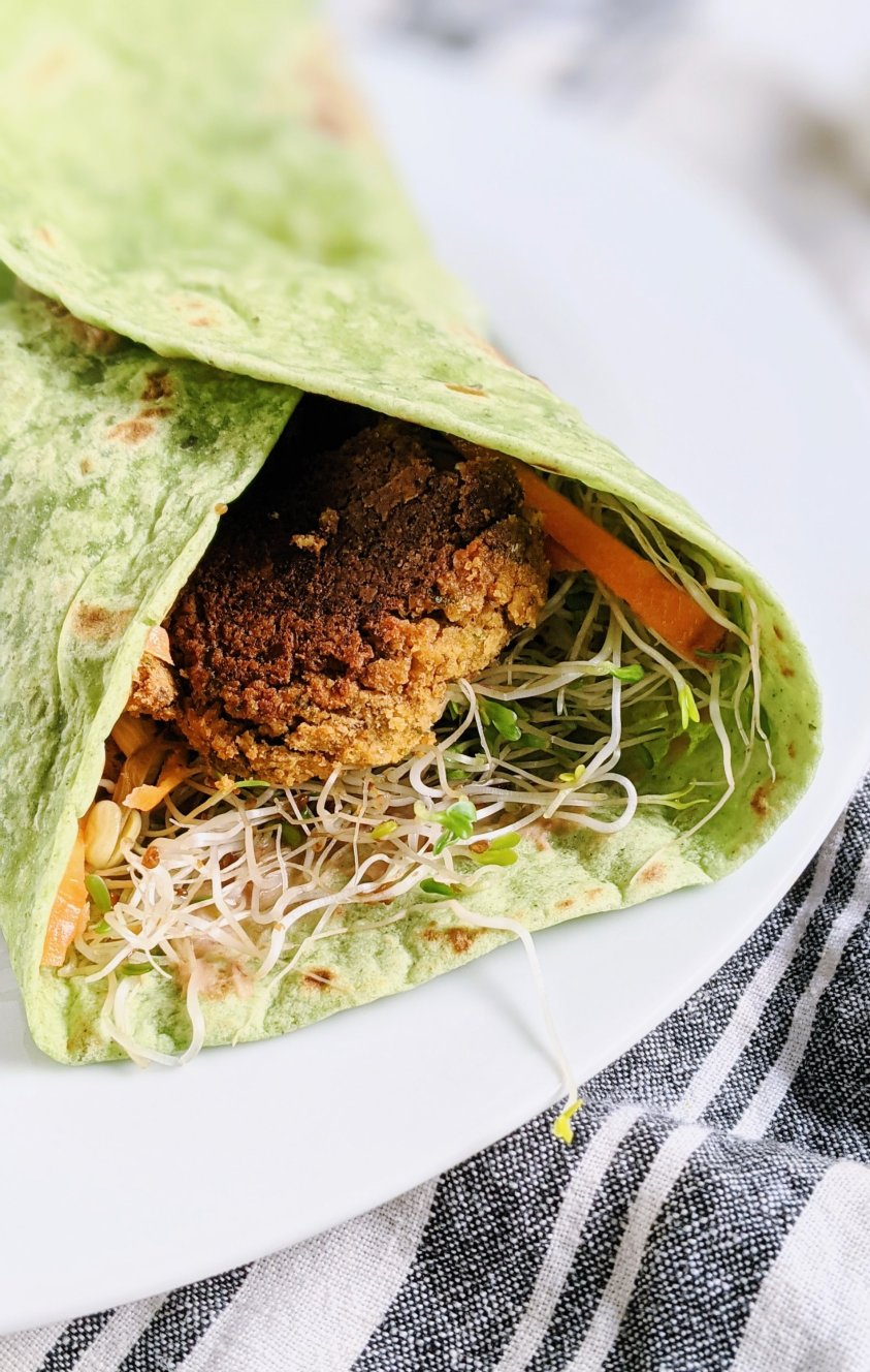 falafel with homemade hummus pickled vegetables carrots bean sprouts falafel sprouts chickpea recipes low sodium oil free falafel wrap sandwich pita