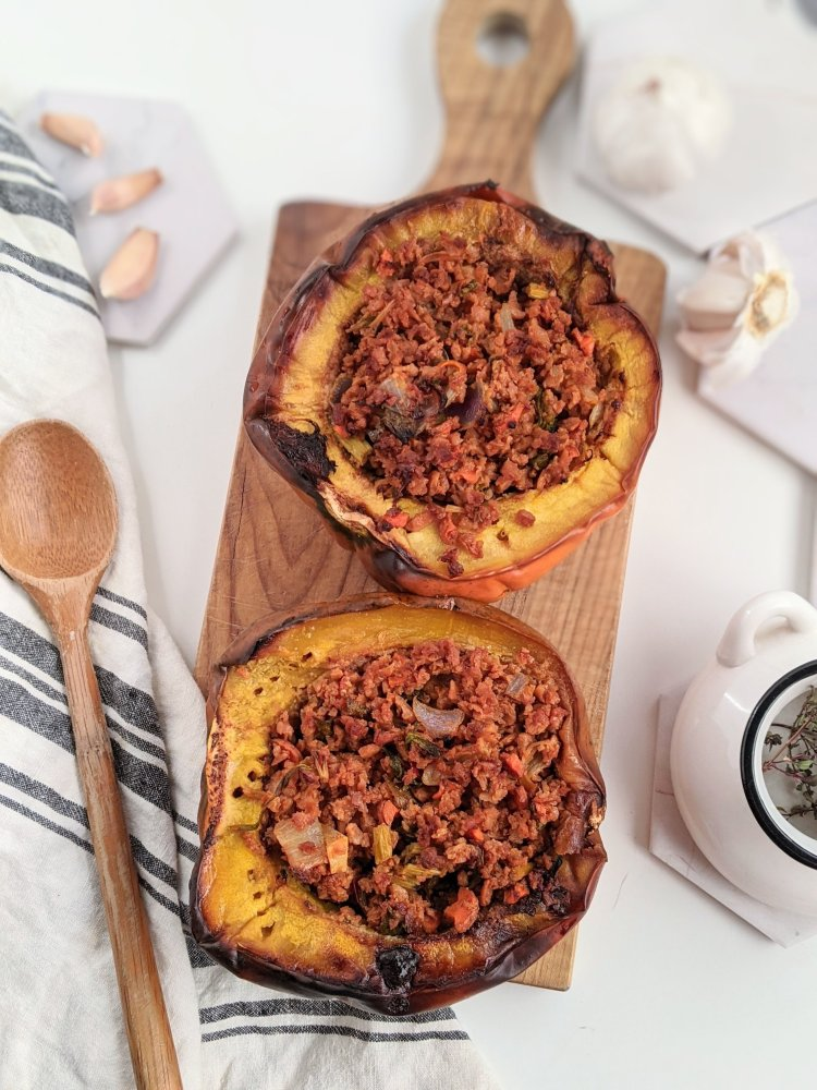 vegetarian stuffed acorn squash roasted keto low carb