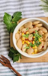 vegan succotash recipe in the instant pot pressure cooker dried beans no soaking healthy high protein summer recipes all year pantry staples gluten free vegetarian
