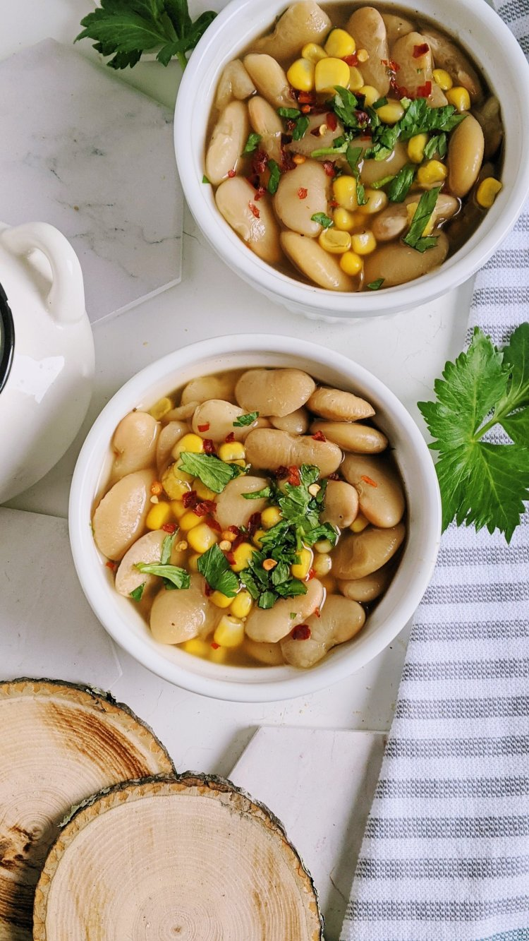 healthy vegan vegetarian succotash recipe in the pressure cooker instant pot lima beans corn peppers salt adobo spices gluten free meatless side dishes southern recipes