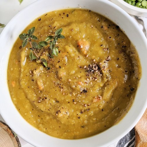 split pea soup with butternut squash vegan gluten free whole30 healthy detox veganuary oil free instant pot pressure cooker slow cooker crock pot stove top