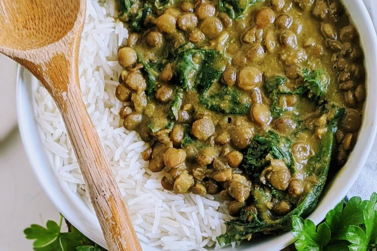 vegan coconut curry lentils recipe healhy high protein vegetarian meatless veganuary recipes with green french le puy lentils healthy curry with kale