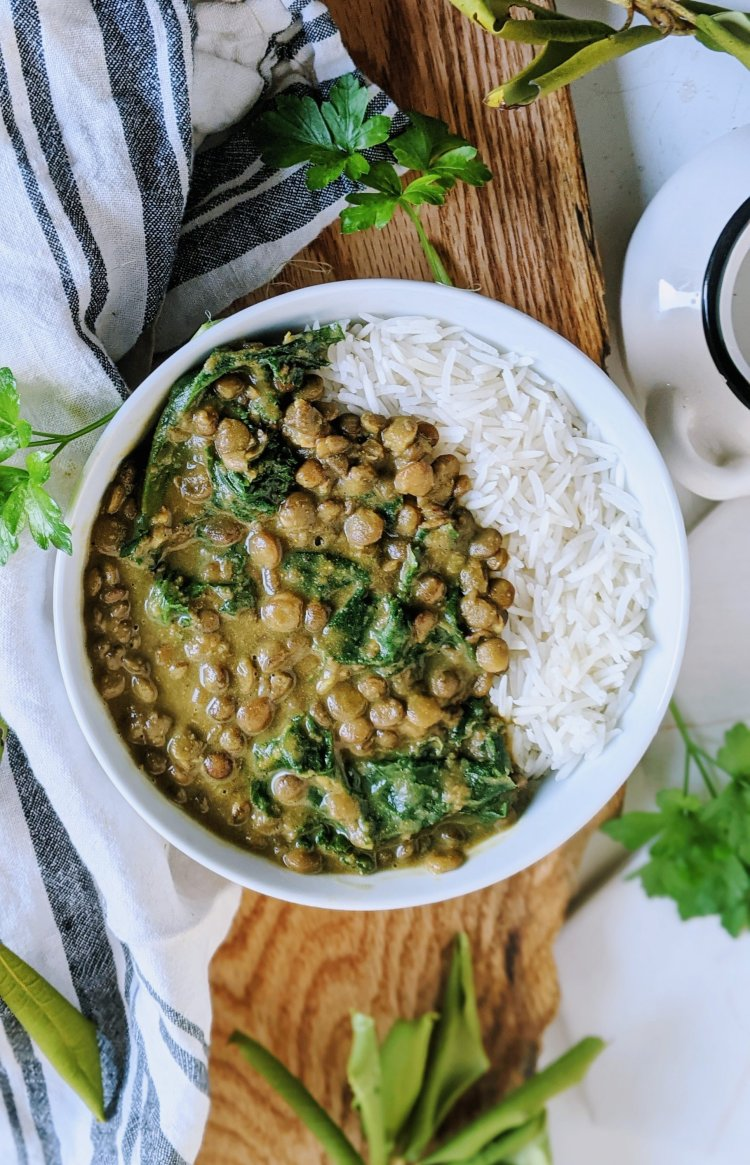 easy spicy lentil curry vegan gluten free vegetarian meatless meal prep ideas over rice basmati curry with lentils and coconut milk kale or collard greens