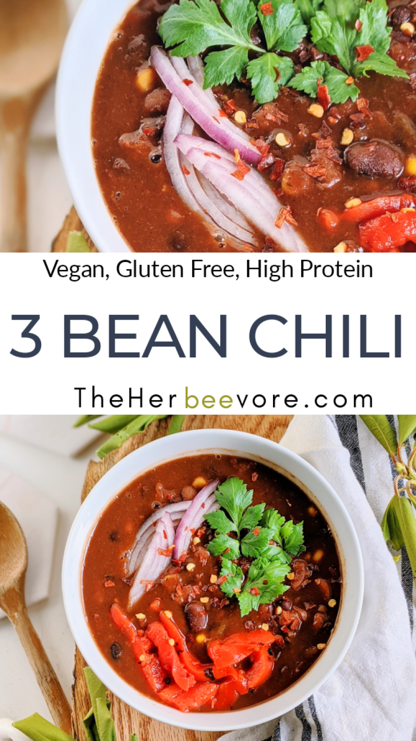 vegan three bean chili recipe slow cooker instant pot pressure cooker gluten free stove top canned beans chili dried beans