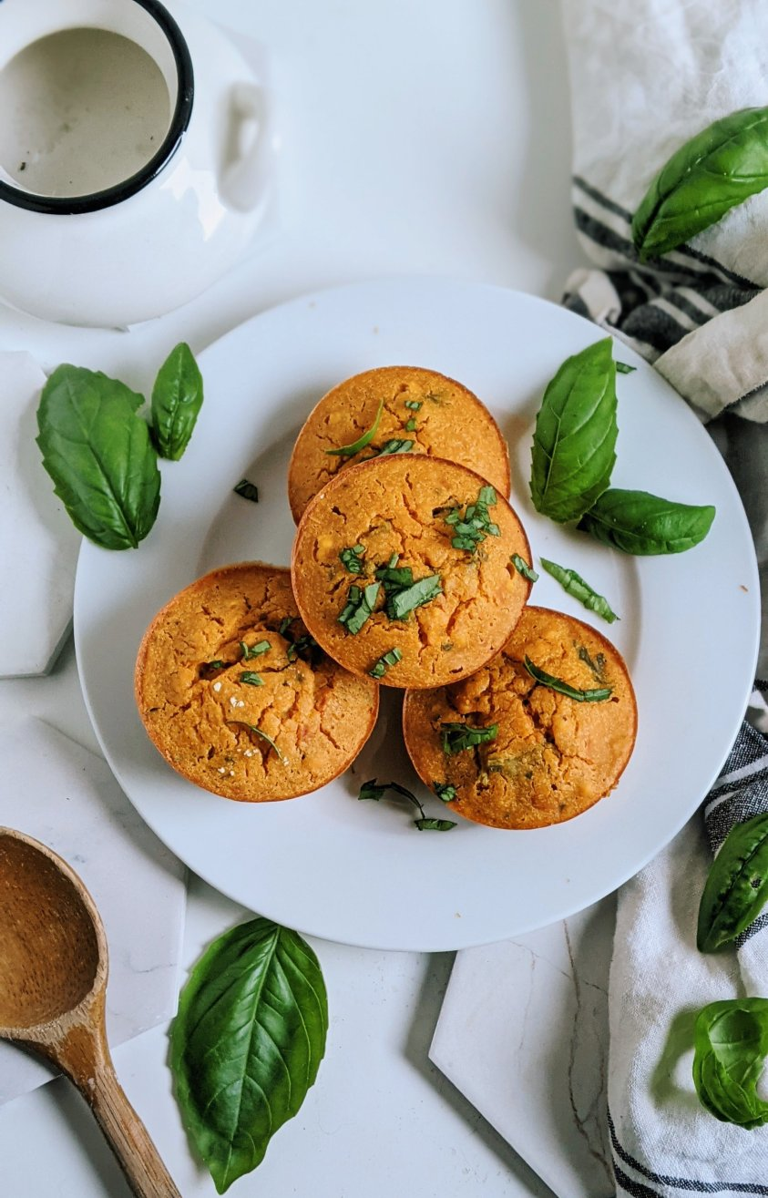 gluten free savory muffins tomato basil chickpea flour vegan grain free baking recipes high vegan protein breakfasts healthy make ahead breakfast recipes and ideas for school or work office on the go