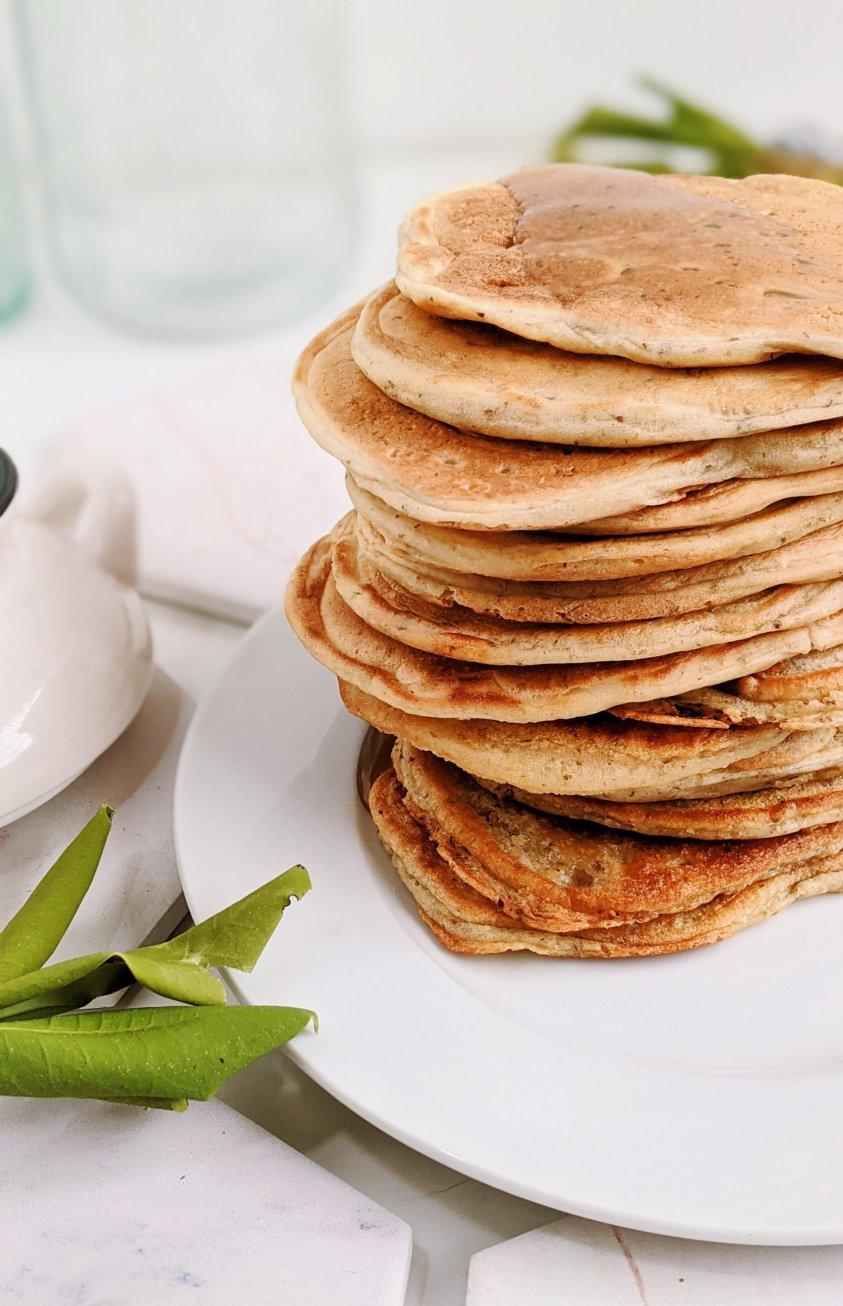 egg free sourdough pancakes recipe no eggs vegan vegetarian meatless veganuary breakfast recipes pancake stack with sourdough discards cheap inexpensive pantry staple ingredients recipe