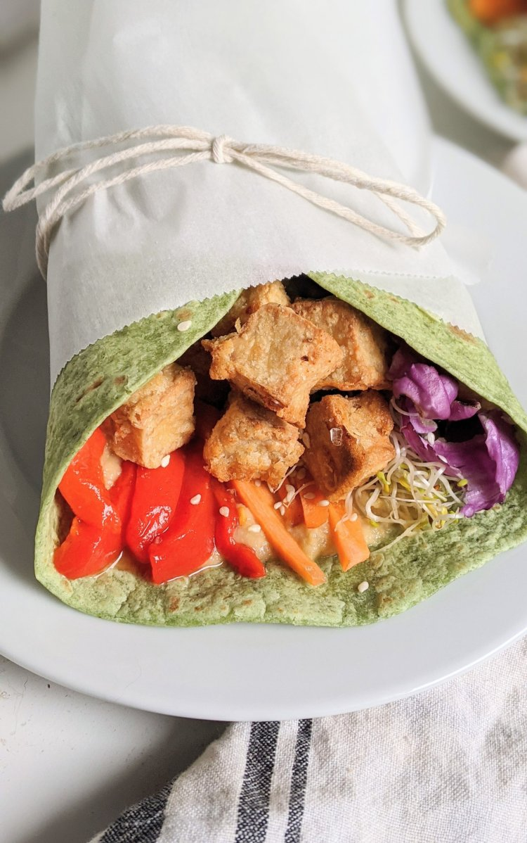 vegan tahini tofu recipe nut free sandwiches healthy vegetarian meatless high protein dinners lunches sandwich wrap healthy slrouts red cabbage roasted red pepper sandwich healthy veganuary