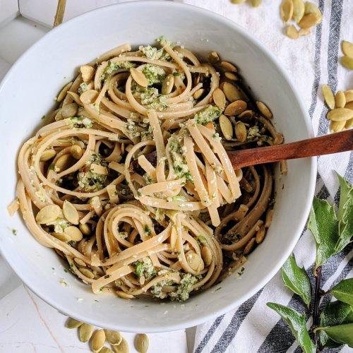 nut free pesto pasta vegan recipes with pumpkin seeds pepitas pesto sauce recipe healthy dairy free italian pasta