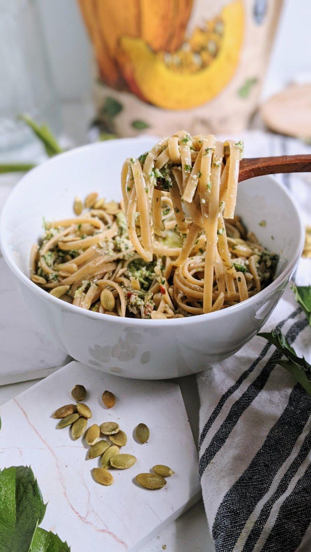 vegan dairy free pesto no nuts recipe meal prep pesto pasta healthy plant based veganuary meals for families