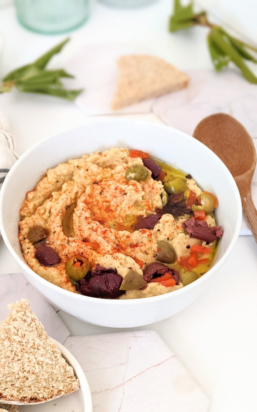 hummus without tahini recipes with olives kalamata olives and green olives and olive oil hummus with bold bright flavor vegan vegetarian gluten free party dips
