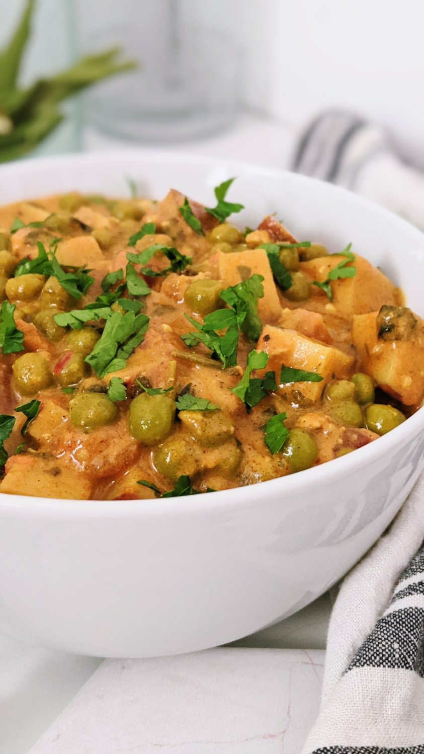 pressure cooker aloo matar recipe healthy vegan vegetarian indian potato and pea curry recipe healthy plant based protein make ahead dinners with frozen peas healthy