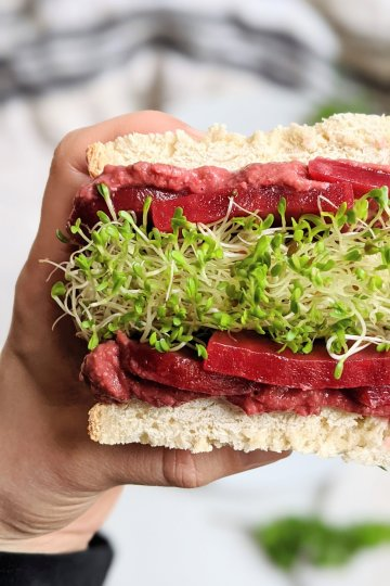 beet hummus sandwich recipe beet root hummous lunch recipes vegan gluten free vegetarian plant based healthy