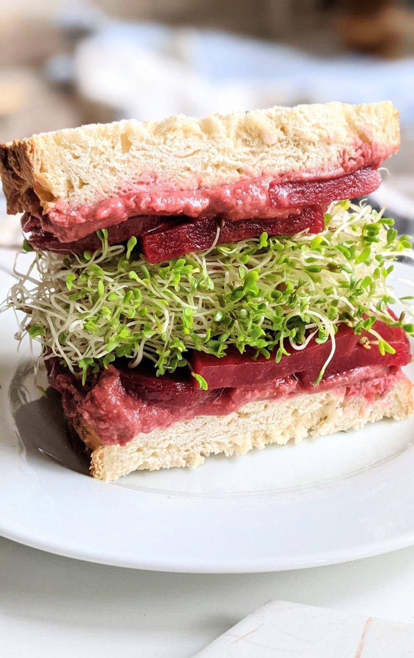 sandwich with beets vegan gluten free vegetarian beet sandwich with hummus recipe plant based beet recipes heart healthy beet sandwich with hummous