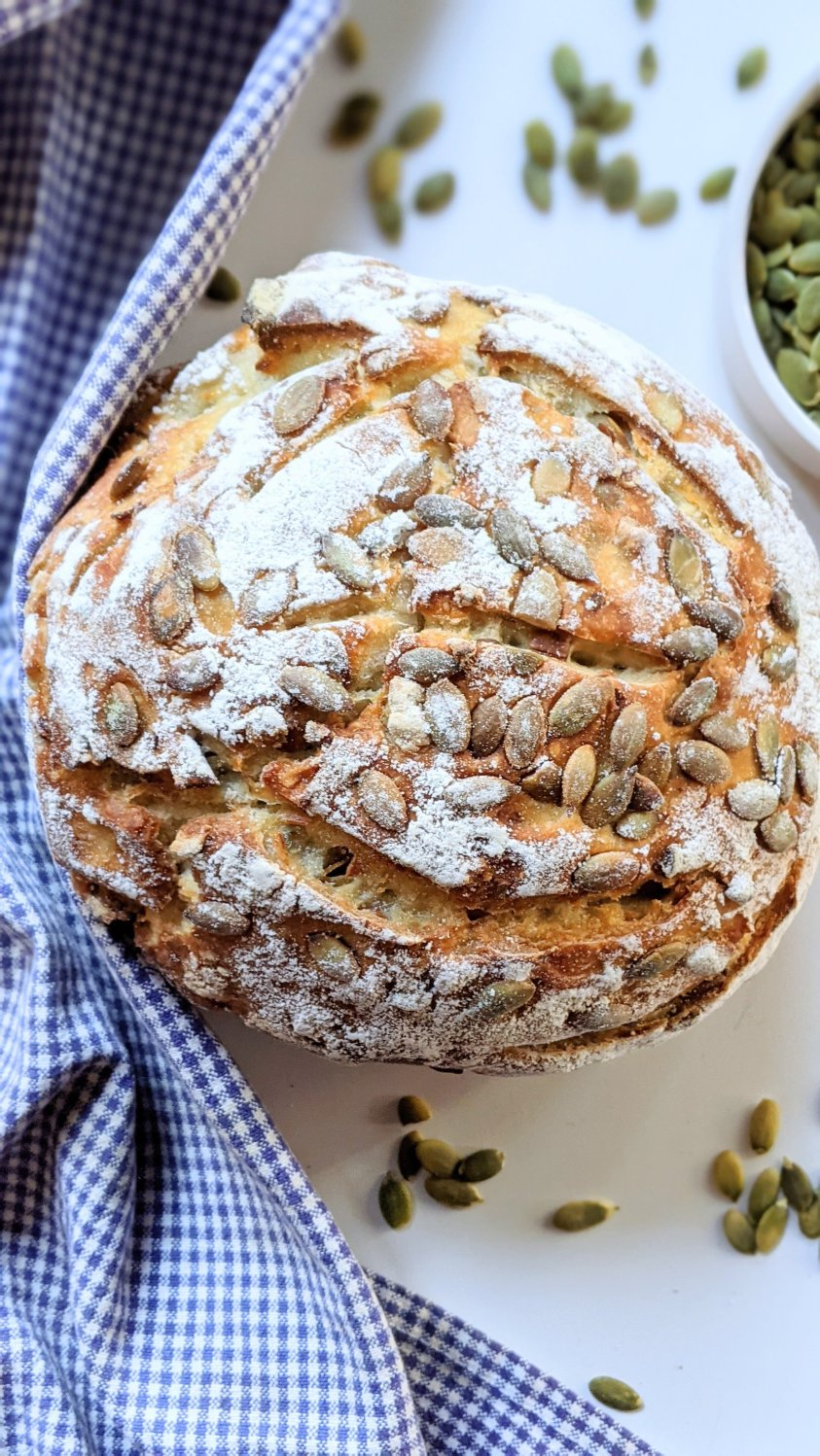 sourdough with pumkin seeds pepitas bread recipe healthy sourdough discard loaf recipe durtch oven no knead bread with seeds baked in