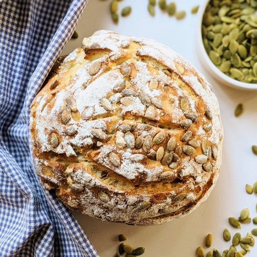 sourdough pumpkin seed bread recipe seeded sourdough vegan vegetarian nut free bread recipes dairy free