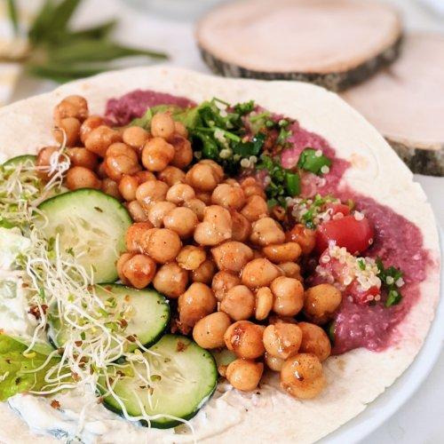 chickpea shawarma recipe vegan gluten free middle eastern chickpea pita recipe healthy plant based protein california beans recipes chickpeas garbanzo bean shawarma