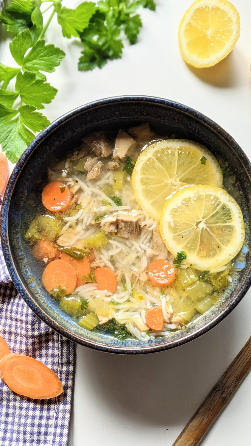 lemon turkey rice soup recipe with leftover thanksgiving turkey leftovers soup gluten free dairy free one pot turkey soup recipe healthy simple inexpensive no waste lunch or dinner ideas