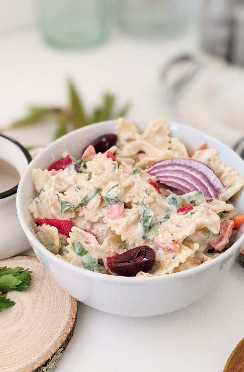 summer tzatziki pasta salad recipe vegan vegetarian gluten free pasta salads summer side dishes recipe