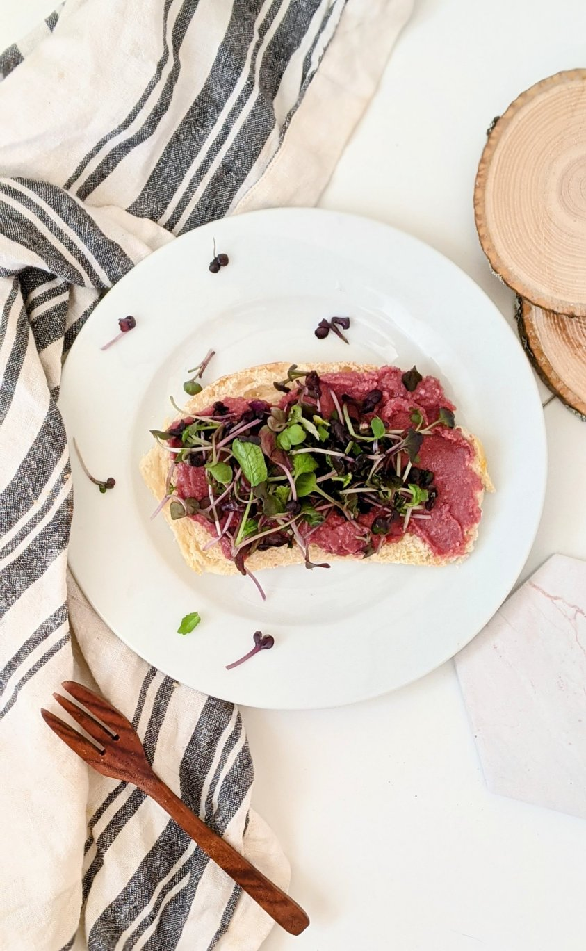 beetroot tartine recipe with hummus french and mediterranean food recipes tartine with microgreens healthy bright and fresh lunch recipes