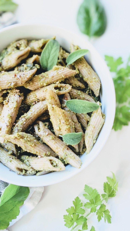 green goddess pesto penne recipe healthy vegan gluten free dairy free no cheese pesto breadcrumb pesto no parmesan recipe healthy egg free dairy free pasta recipes