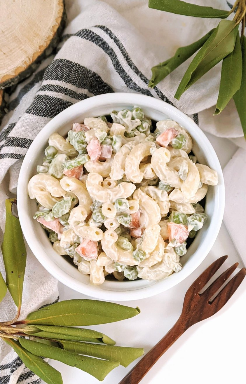 vegan ranch macaroni salad recipe with pea pasta salad recipes dairy free ranch dressing pasta recipe for summer side dish mac salad gluten free