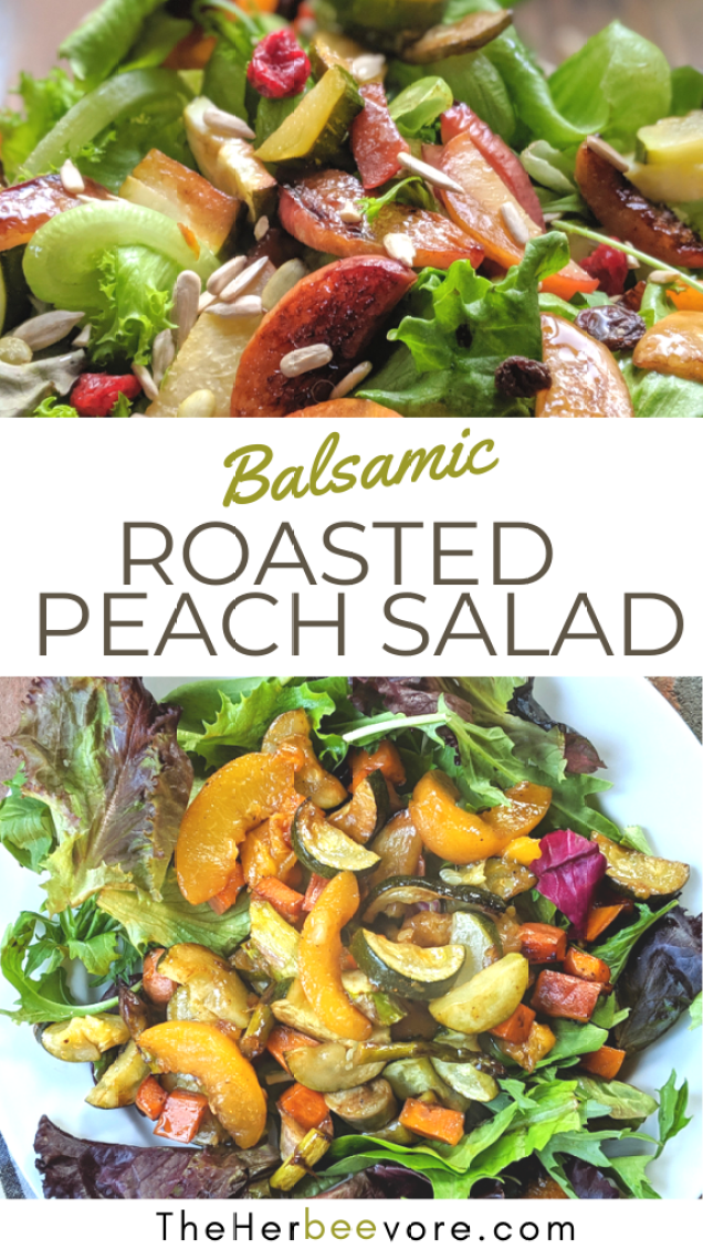 balsamic peach summer salad recipe vegan vegetarian gluten free roasted salads for summer spring salads sheet pan salad recipes