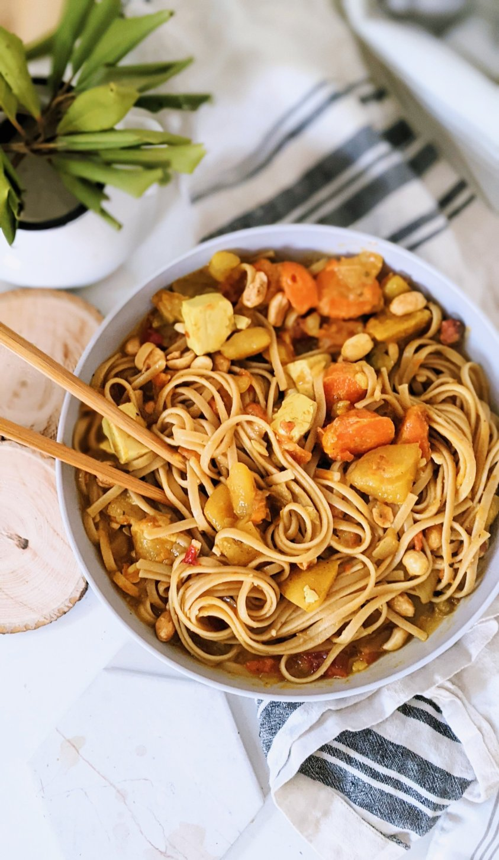 vegan peanut curry noodles recipe gluten free vegetarian peanut noodle bowl with curry sauce coconut curry peanut butter noodles recipe with vegetables thai veggie peanut curry noodles