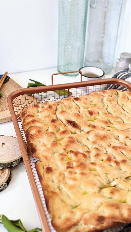 vegan focaccia with sourdough starter discard recipe egg free sheet pan bread dairy free sourdough bread recipes healthy easy breads no knead