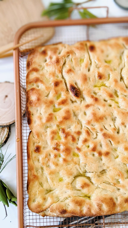 vegan sourdough focaccia bread recipe egg free dairy free italian sheet pan bread recipe homemade overnight no knead focaccia