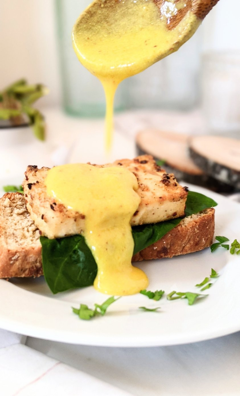 vegan eggs benedict recipe with chickpea lemon sauce for eggs benny vegan mothers day weekend brunch recipes