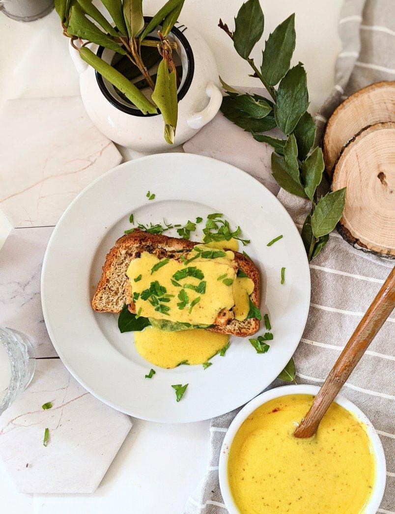 vegan eggs benny recipe healthy homemade eggs benedict with tofu vegan chickpea hollendaise sauce recipe