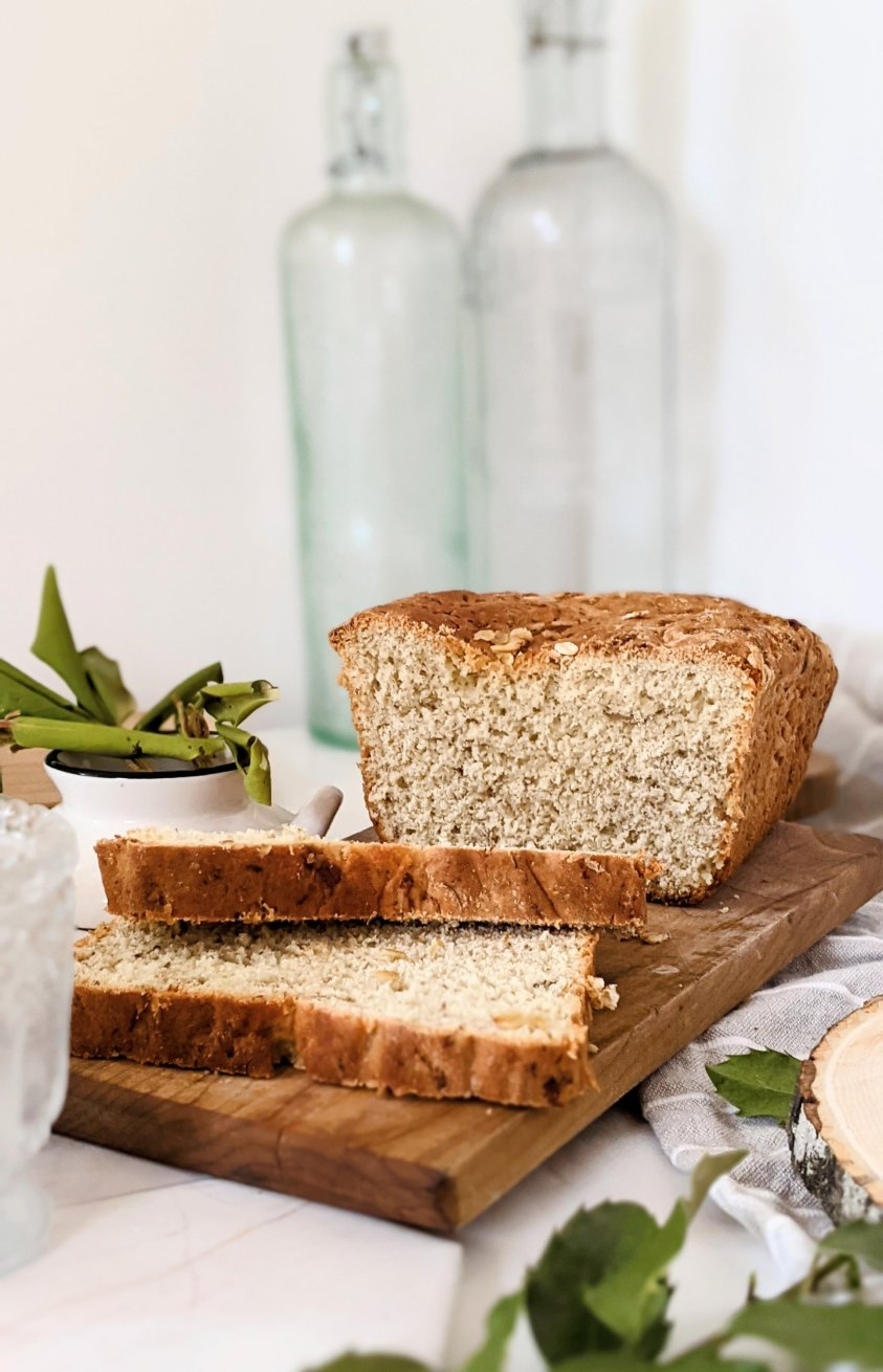 vegan oatmeal bread recipe healthy eggless bread with oats and flaxseed meal loaf of bread homemade easy flax oat sandwich bread