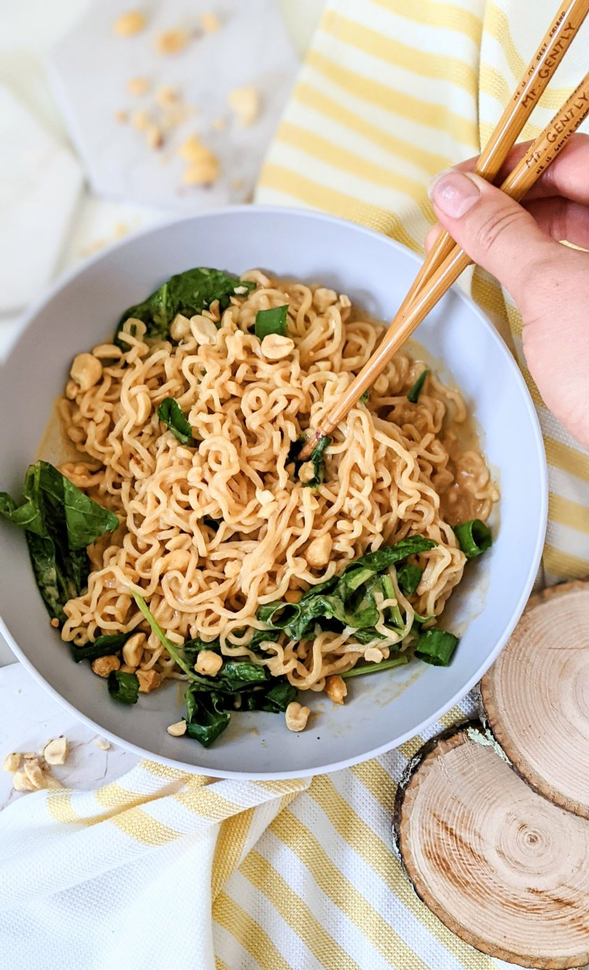 creamy peanut ramen noodles vegan gluten free vegetarian hacks for ramen noodles instant ramen transformation healthy dinner easy gluten free peanut noodles cheap easy inenpensive dinner ideas to impress