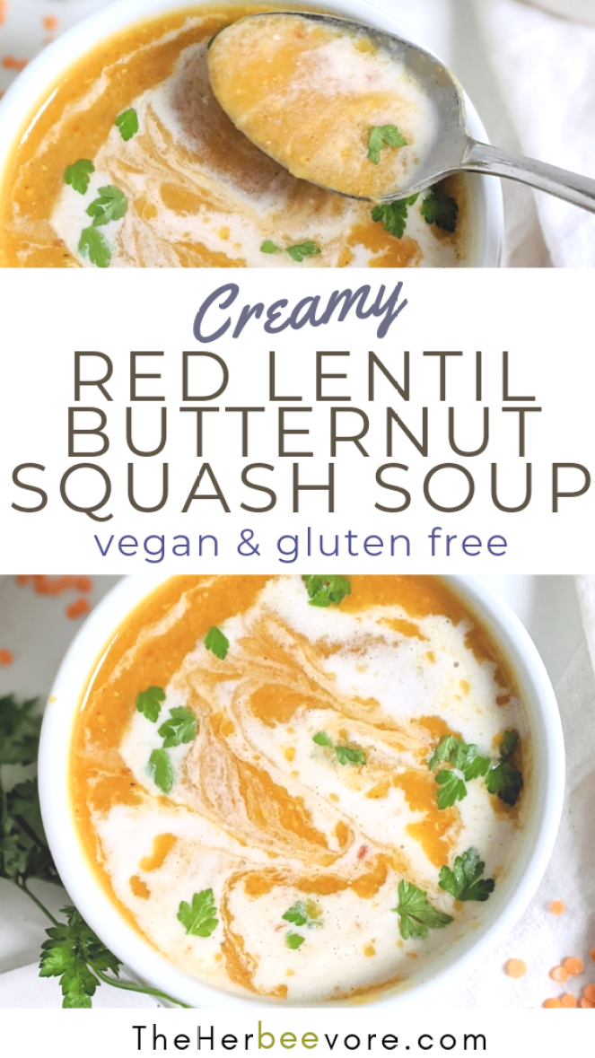 red lentil butternut squash soup recipe vegan gluten free plant based autumn soup recipes healthy high protein soups dairy free squash soup