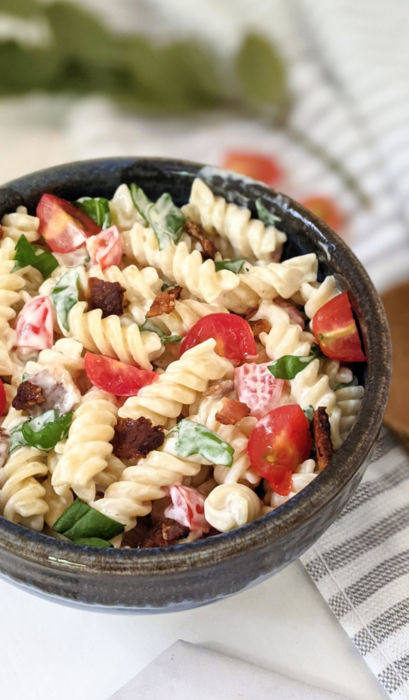 blt ranch pasta salad recipe for summer bbq side dish creamy salads fun party favorite recipes for memorial day bbq recipes side dishes for 4th of july cookouts and summer entertaining recipes