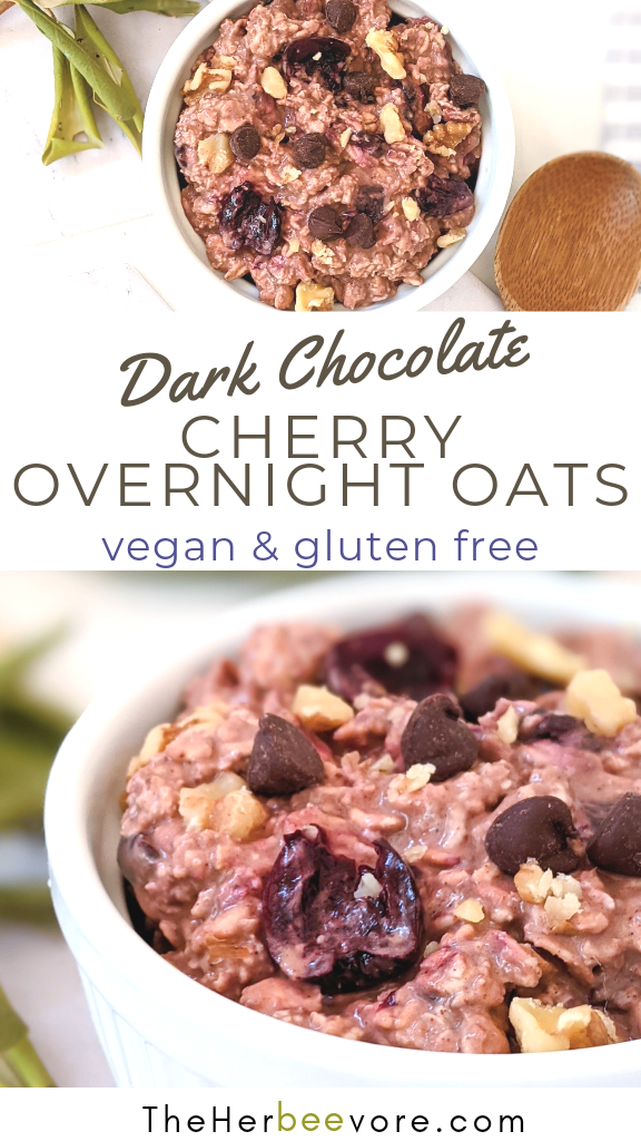 vegan chocolate cherry overnight oatmeal recipe gluten free cherry overnight oats with cacao powder and cherries healthy high fiber breakfast ideas no cook breakfasts for kids on the go
