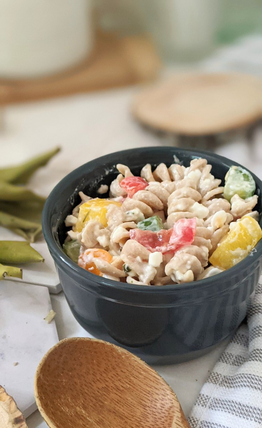 meatless creamy pasta salad with cottage cheese recipes side dishes with cottage cheese recipes for summer with cucumber tomato savory cottage cheese reicpe ideas and side dishes with mayo