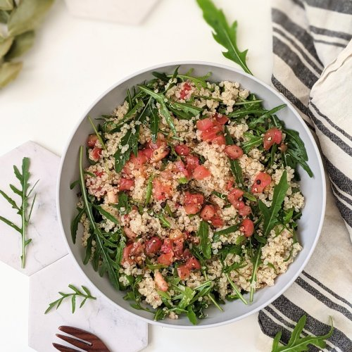 bruschetta quinoa salad recipe vegan gluten free summer salads to bring to a bbq party potluck or barbecue recipes everyone will love healthy high protein vegetarian salads filling salads for lunch or dinner